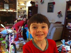 A face full of Christmas morning